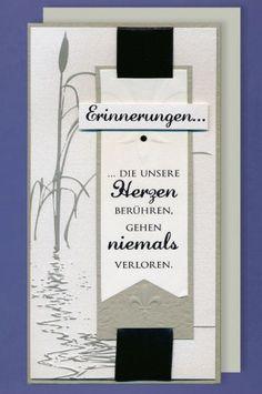 Trauer Grußkarte mit Umschlag Erinnerungen Herzen Schilf 10x21cm