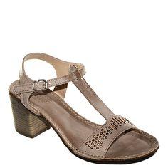 #Sandalo con il tacco grosso di media altezza con il cinturino a T in pelle di colore marrone di #Khrio  http://www.tentazioneshop.it/scarpe-khrio/sandalo-14369-tortora-khrio.html