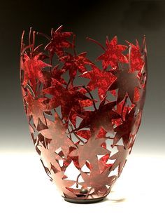 Custom Made Japanese Maple Leaf Vessel by Rob Glebe Design - Lovely!Red Maple Leaves Vessel - Rob Glebe Design Wow, I love all of these!Rob Glebe& metalwork at the Fine Arts Festival, May at Reston Town CenterSteel sculpture, TIG Try wraping a balloo Leaf Crafts, Diy Home Crafts, Fall Crafts, Arts And Crafts, Paper Crafts, Reston Town Center, Balloon Crafts, Pinterest Crafts, Japanese Maple