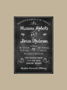 Chalkboard wedding invitation SAMPLE