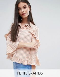 Missguided Petite Check Frill Detail Blouse