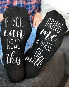 Bring me milk socks Custom socks If you can read bring me a glass of milk socks #DanskinUltralite #Casual