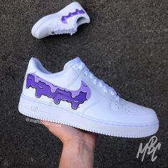 Nike Air Force 1 with purple dripping design over Nike swoosh. - Paint is crack & water resistant - Hand Painted - Shipped Class Shoes are made to order, please allow up to 30 days to be completed and posted. All Sales are Final, No Returns. Zapatillas Nike Air Force, Nike Af1, Custom Painted Shoes, Custom Shoes, Hype Shoes, On Shoes, Aldo Shoes, Basket Style, Nike Shoes Air Force