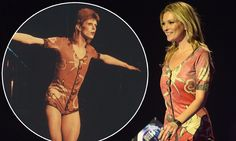 Kate Moss accepts David Bowie's BRIT award for Best Male Solo artist wearing singer's iconic Ziggy Stardust playsuit