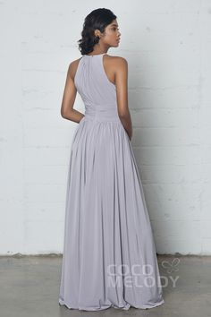 Divine Sheath-Column Halter Natural Floor Length Knitted Fabric Sleeveless Zipper Pleating COZF17019Cocomelody#prom dress#party#dresses#