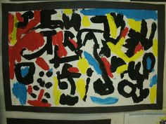 K ABC painting.  Have students paint each letter in a different direction, size, and fun way! Paint white areas with primary colors. Easy and fun!