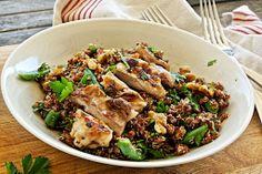 Healthy brown Quinoa, grilled Chicken and Walnut Salad