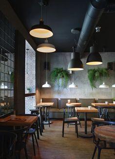 I Feel espresso bar Kryvyi Rih / Ukraine / 2015 I Feel Espresso Bar - Picture gallery Industrial Cafe, Industrial Restaurant, Vintage Industrial, Industrial Style, Industrial Coffee Shop, Industrial Design, Espresso Bar, Café Design, Deco Cafe