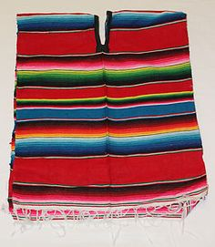 Assorted Colors Mexican Poncho Sarape Adult Costume Mexican Fiesta $14.99
