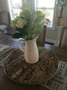 All the goodies, Lazy Susan, Queen Anne Lace Pitcher and Table Runner, from Mary & Martha sure do make my home lovely.