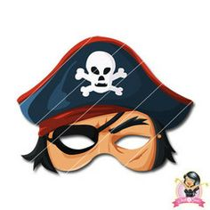 Childrens Printable Pirate Mask | Simply Party Supplies Printable Masks, Printables, Half Mask, Printer Paper, Hole Punch, Print And Cut, Pirates, Yellow, Blue