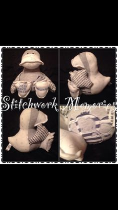 A funky #duck #keepsake. Only £21x #Handmade from #baby #clothes #boys #son #brother #gifts #parents #stitchwork #memories