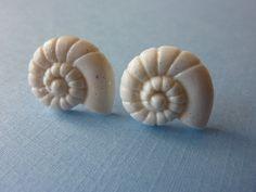 Spiral Seashell White Glitter Stud Earrings by KristalsKreations20, $6.00