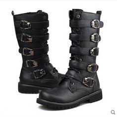 Half Knee High Long Street Fashion Metal Decoration Belt Men Shoes Zip Thread Military Biker Desert Chukka Boots Wear Rock