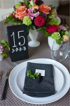 Chalkboard Brick Table Numbers