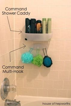 Using Command caddys & hooks in the shower for organization - I didn't realize these can go in a bathroom!