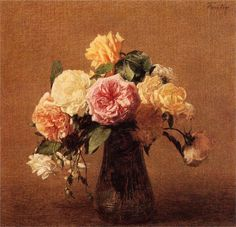 Paintings of Spring: Henri Fantin-Latour ianuarie 1836 – 25 august pictor si litograf francez(I)Flowers Henri Fantin Latour, Art Database, Oil Painting Reproductions, Fantastic Art, French Art, Matisse, Painting Frames, Art World, Flower Art