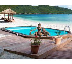 Piscine en bois palmyra 6 13 x 4 05m piscine castorama for Promo piscine bois octogonale