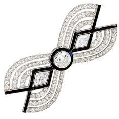 Art Deco Diamond and Onyx Brooch  France  1925
