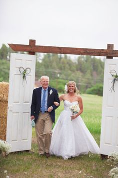 good idea! doors at beginning of aisle for outdoor wedding so they don't see you until it's time!!!! definitely different doors though..