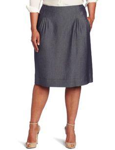 AK Anne Klein Women's Indigo Twill Pleated Skirt