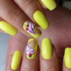 Strawberry Ice Cream on Yellow Base. These yellow nails with the perfectly drawn strawberry ice cream with cone is inspiration for the colorful spring for all those ice cream lovers out there.