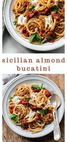 Bucatini with Sicilian Almond Pesto and Burrata Cheese: Thick bucatini pasta sauced with creamy burrata cheese and Sicilian almond pesto, a robust, savory sauce with toasted almonds, dried tomatoes and basil. Italian Pasta Recipes, Best Pasta Recipes, Pasta Dinner Recipes, Sicilian Recipes, Italian Dishes, Vegetarian Recipes, Cooking Recipes, Gnocchi Recipes, Al Dente