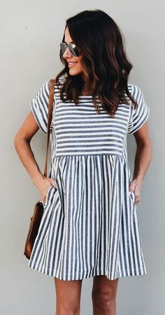 f34ba7f163a04  fall  outfits women s black and white stripe short-sleeved mini dress  Outfits For