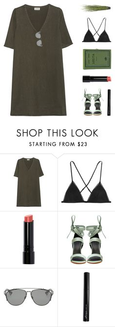 """Forest Green"" by starit ❤ liked on Polyvore featuring American Vintage, Kiki de Montparnasse, Bobbi Brown Cosmetics, Olympia Le-Tan, TIBI, Christian Dior and Antonym"