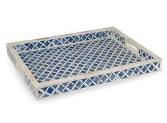 Indigo Marrakech Bone Inlay Rectangular Tray - Zohi Interiors 50cm L x 38 cm D x 4.5cm H $289.95