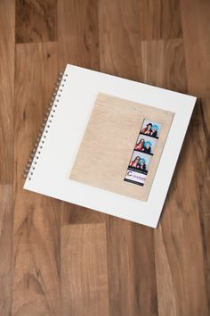 Photo booth guest book. Thin plywood plate on a white mat board. Modern and country chic! zentnerdesign.com