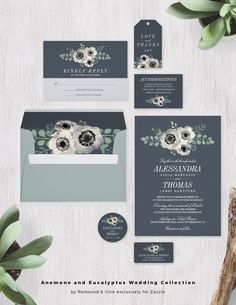 Dramatic and contemporary, our Anemone and Eucalyptus wedding invitation suite features watercolor floral elements and a chic, understated color palette of smoky blue gray, rich cream and dusty sage green. Designed by Redwood & Vine exclusively for Zazzle.