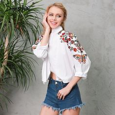Simplee Embroidery white blouse shirt women tops Short long sleeve feminine blouses chemise Casual 2017 summer beach blusas