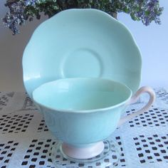 Royal Albert PASTELLA Light Blue with Pink  Bone China Tea Cup and Saucer by LauriesFineChina on Etsy