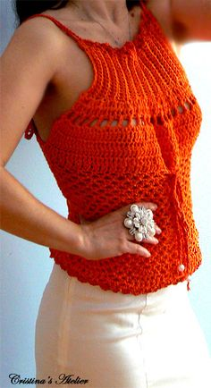 Tangerine crochet tank top .Handmade mesh crochet top. Corset back crochet top. Fitted crochet smocked top Elegant summer boho crochet tank....
