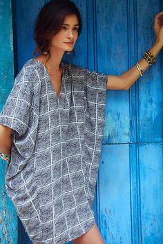 Paned Cocoon Dress #anthropologie