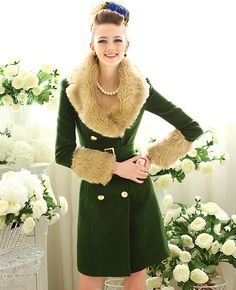 Green Doulbe-breasted Long Woolen Coat