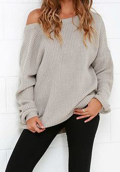 Grey Plain Irregular Boat Neck Streetwear Knit Pullover Sweater