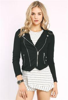 Ribbed Knit Moto Jacket $23.99