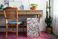 Kick boring to the curb with these fabric-wrapped storage bins that will satisfy both the pretty and the practical in your life. Fabric Storage Boxes, Fabric Boxes, Storage Bins, Storage Containers, Fabric Basket, Plastic Storage, Storage Drawers, Diy Home Crafts, Diy Home Decor