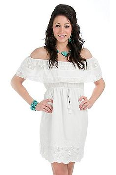 Flying Tomato Ladies White Eyelet Ruffle Top Dress. I want this whole outfit