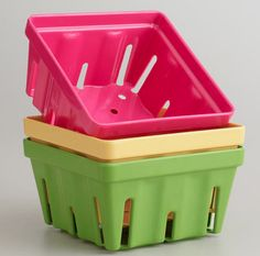 Pink, Yellow & Green Melamine Berry Baskets at Cost Plus World Market >> #WorldMarket Cooking with Color