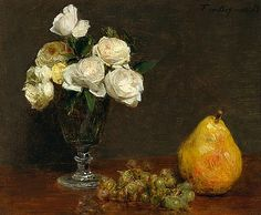 still life with roses and pear, 1863, henri fantin-latour