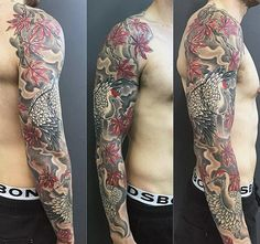 Cool Japanese Maple Tree With Crane Mens Sleeve Tattoos
