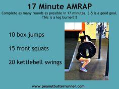 17 min AMRAP: 10 box jumps, 15 front squats, 20 KB swings