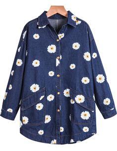 Shop Blue Long Sleeve Sunflowers Print Denim Blouse online. Sheinside offers Blue Long Sleeve Sunflowers Print Denim Blouse & more to fit your fashionable needs. Free Shipping Worldwide!