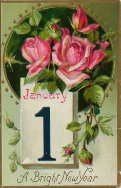 antique new year postcard by tuck and sons in great britain featuring beautiful embossed colorful rose blossoms