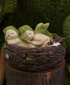 This Sleeping Twin Fairy Babies in Nest Figurine is perfect! #zulilyfinds