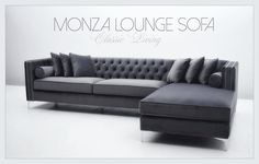 MONZA LOUNGE SOFA  Nydelig sjeselongsofa i grå velour i tøft og tidløst design. Lekre detaljer med børstede sølvnagler og tøffe knappe detaljer. Meget god sitte komfort. Faste ryggputer. 6 løse puter medfølger i tillegg. Ekstra trekk til alle løse puter medfølger uten ekstra kostnad.  Intropris 16900kr #classicliving #sofa
