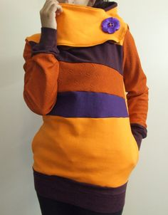 PURPLE PUMPKIN  Hoodie Sweatshirt Sweater  Recycled by MungoCrafts, $75.00